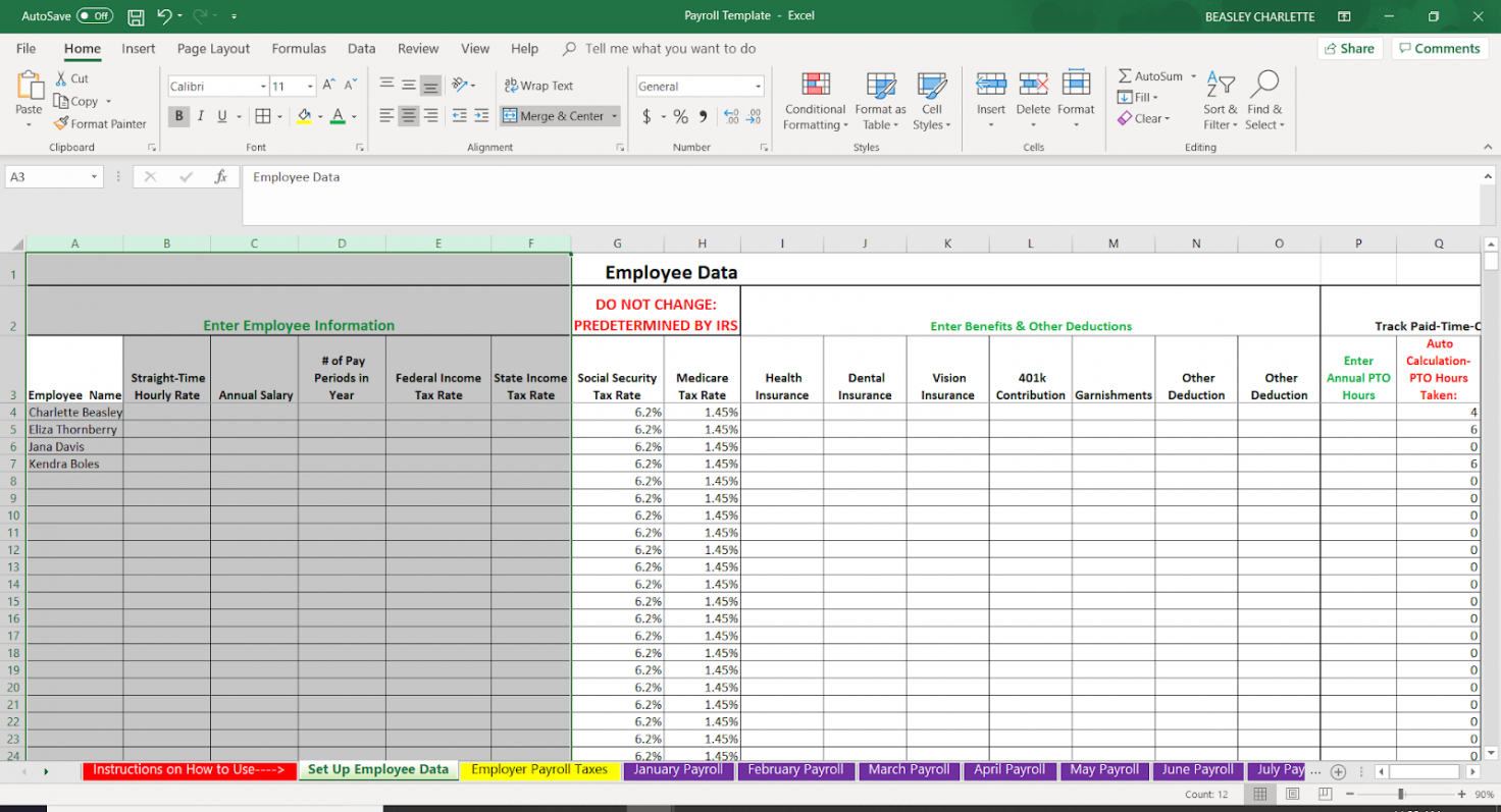 sample how to do payroll in excel in 7 steps  free template small business payroll template word