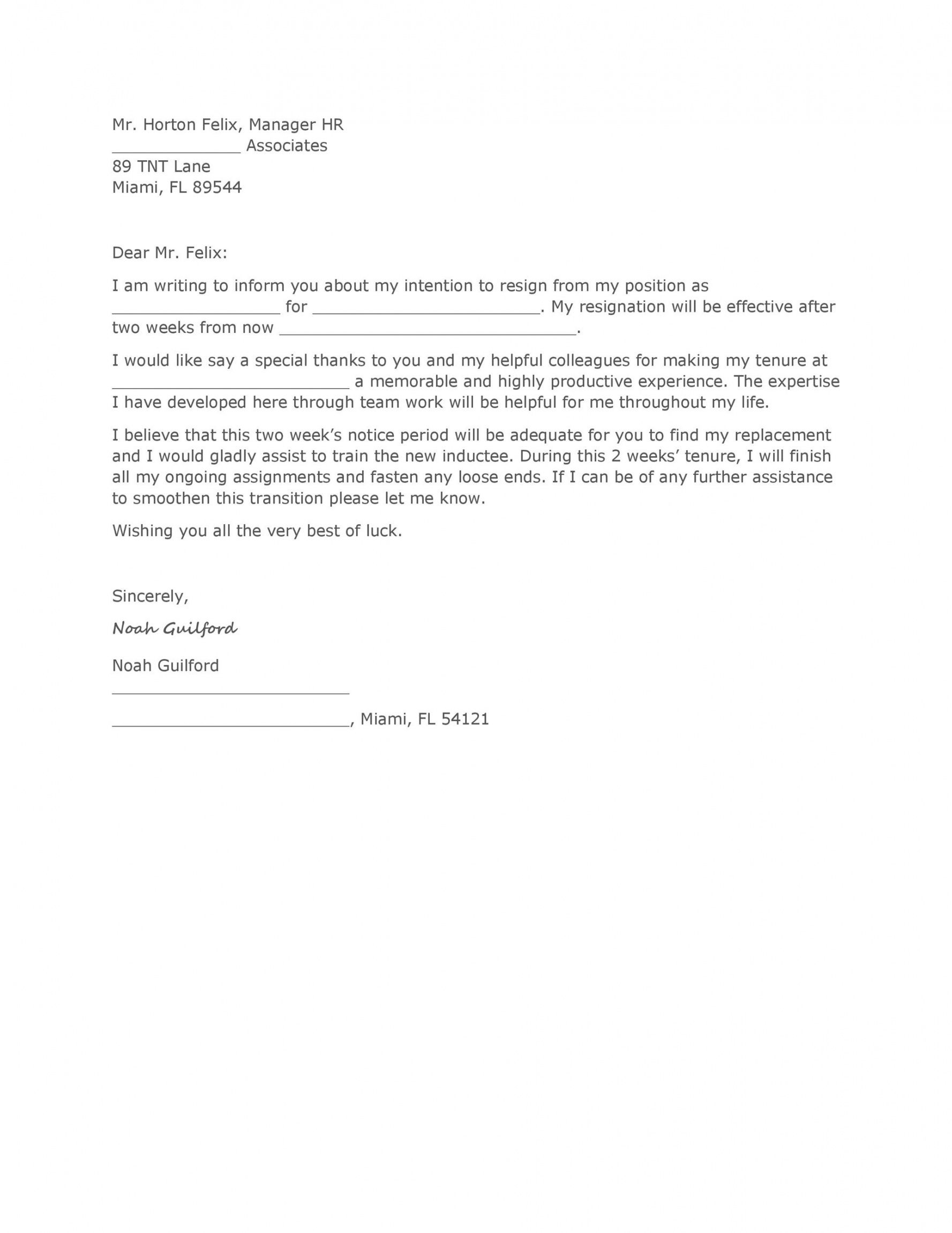 editable 40 two weeks notice letters & resignation letter templates forced resignation letter template example