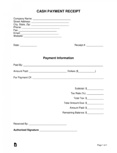 free cash payment receipt template  pdf  word  eforms loan payment voucher template word