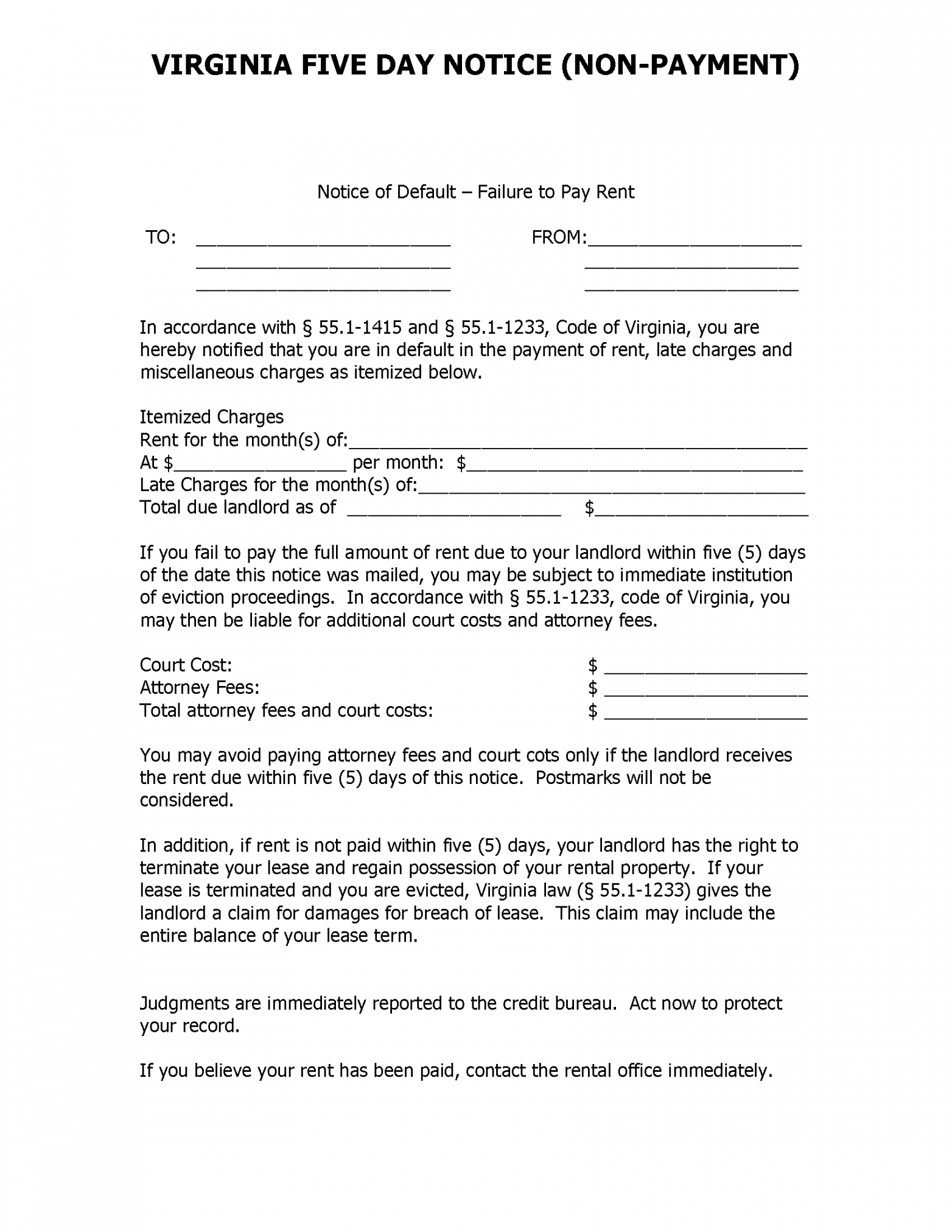 free free virginia 5 day notice to pay or quit  pdf notice to pay or quit template word