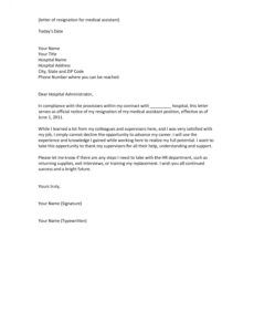 free sample resignation letter for healthcare assistant لم يسبق medical assistant resignation letter word