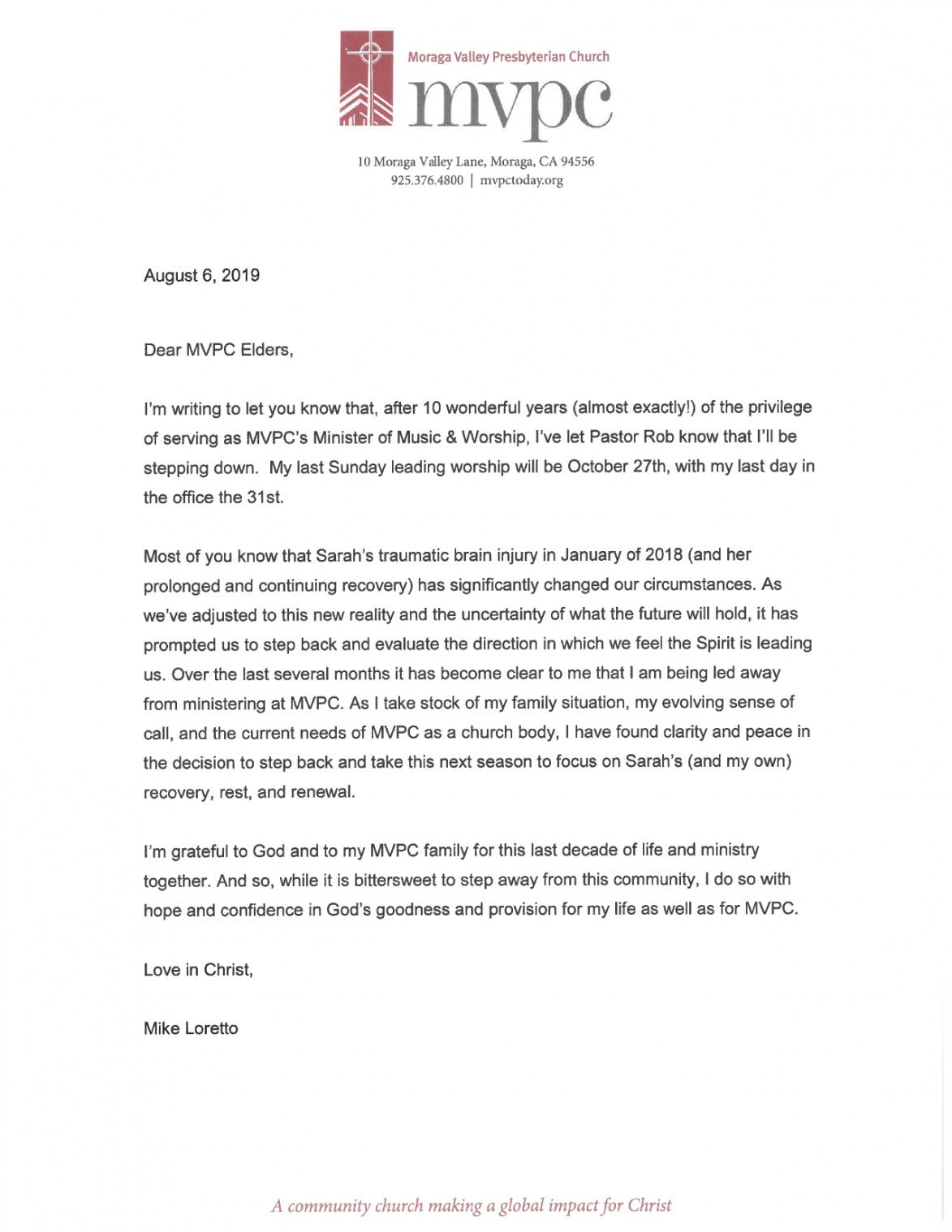 mike loretto  moraga valley presbyterian church resignation letter from church ministry
