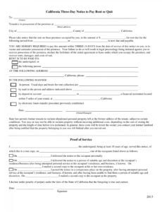 printable california 3day notice to quit form  nonpayment of rent notice to pay or quit template word