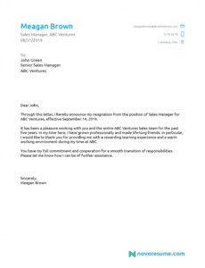 sample 5 letter of resignation templates download now volunteer resignation letter doc
