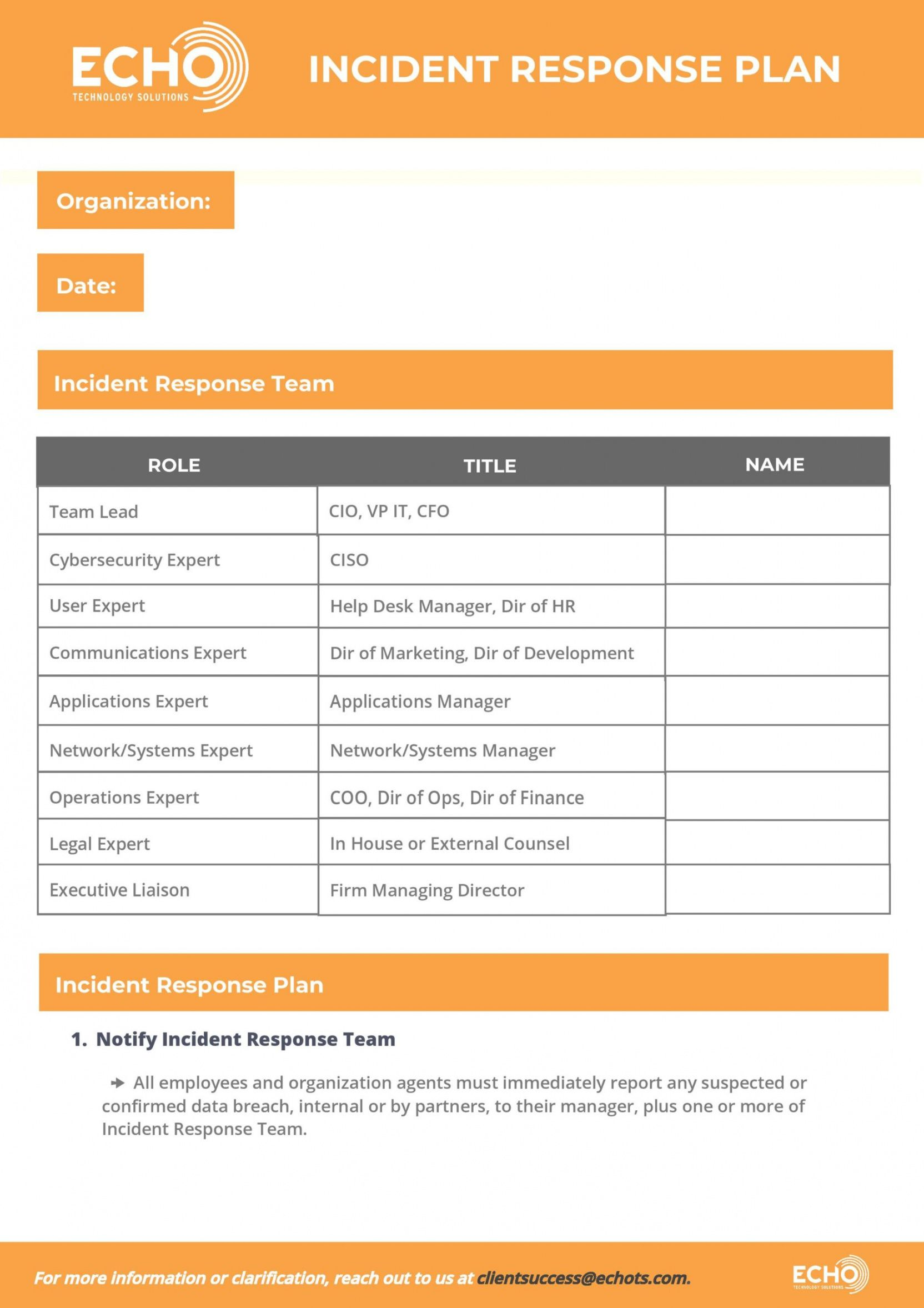 sample cybersecurity incident response plan template  echo cyber incident response plan template sample