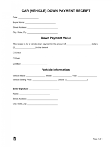 sample free car vehicle downpayment receipt template  word  pdf loan payment voucher template pdf