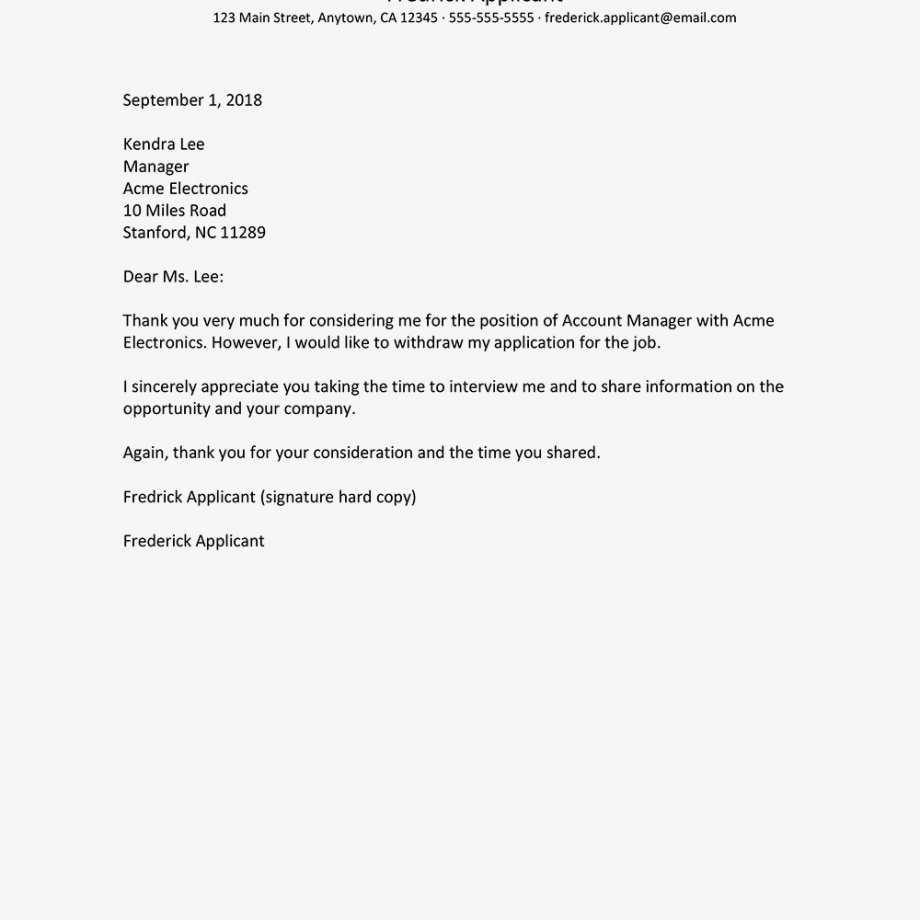 sample sample letters withdrawing a job application rescind resignation letter template sample