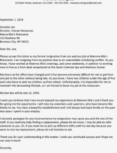 sample sample resignation letter due to a schedule conflict resignation letter for call center example