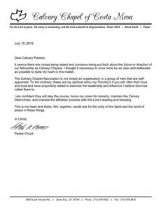 updates  calvary chapel association resignation letter from church ministry example