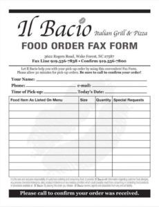 10 food order form templates  word docs  free & premium restaurant order forms template doc