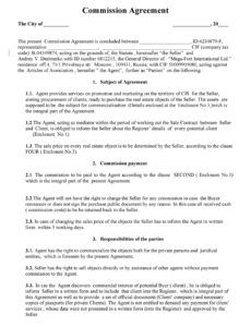 36 free commission agreements sales real estate contractor sales agreement commission template