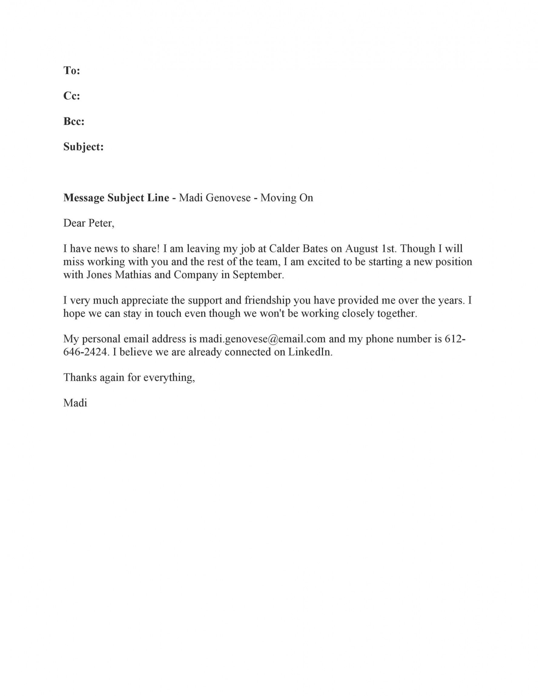 40 farewell email templates to coworkers  templatelab heartfelt resignation letter to coworkers example