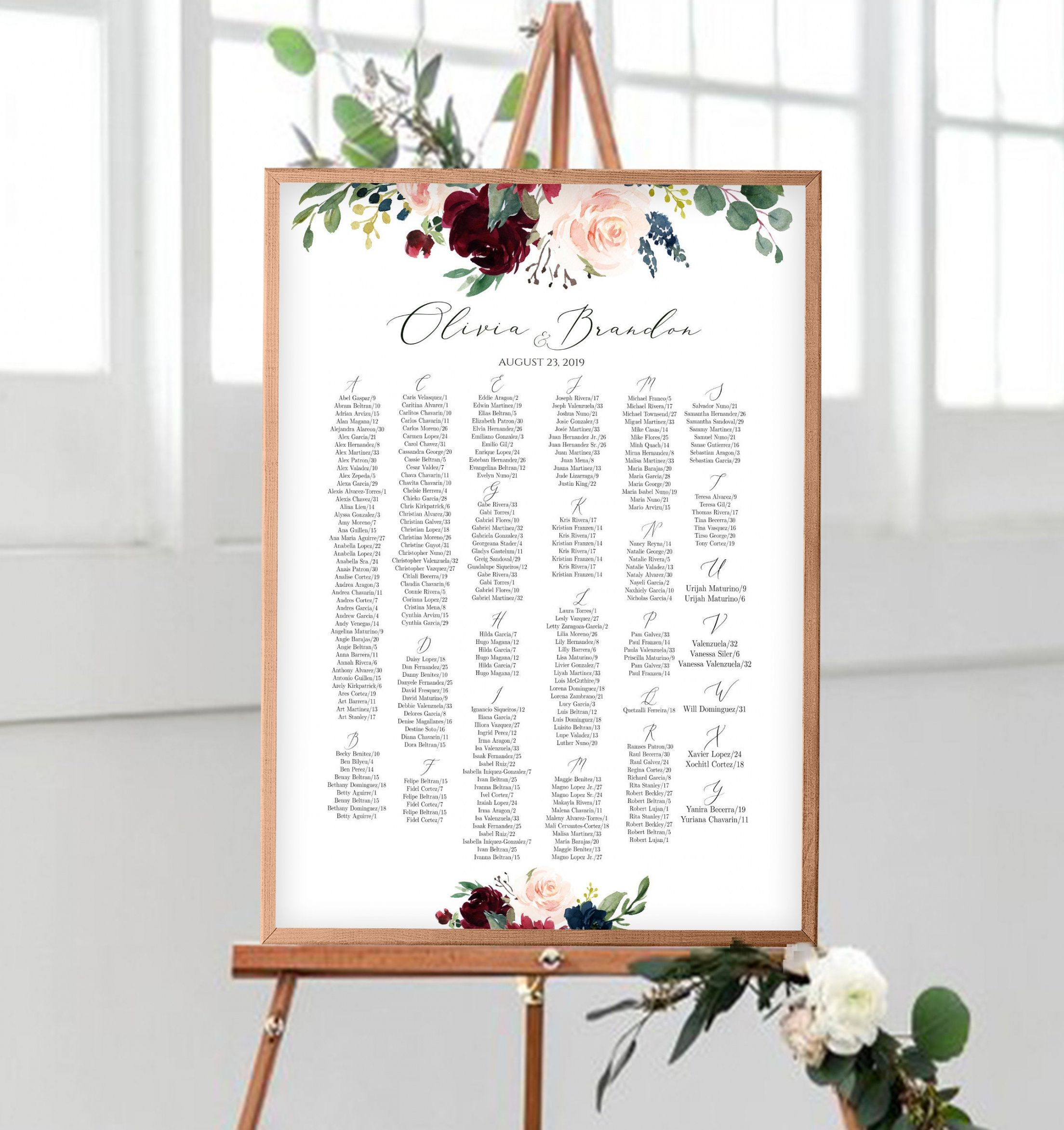 alphabetical seating chart template editable wedding table seating chart up  to 300 guests find your seat seating charts burgundy merlot boho wedding seating chart alphabetical order template doc