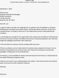 editable immediate resignation letter examples resignation letter without notice template