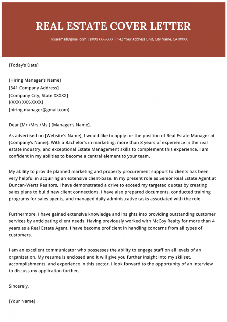 free real estate agent cover letter example  resume genius real estate resignation letter example
