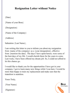 free resignation letter without notice01  best letter template resignation letter without notice template example