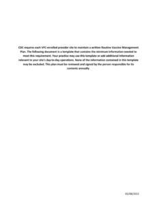 free routine vaccine management plan template vaccine management plan template
