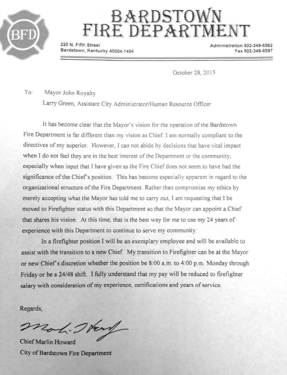 howard resigns as fire chief after policy disagreement with fire department firefighter resignation letter pdf