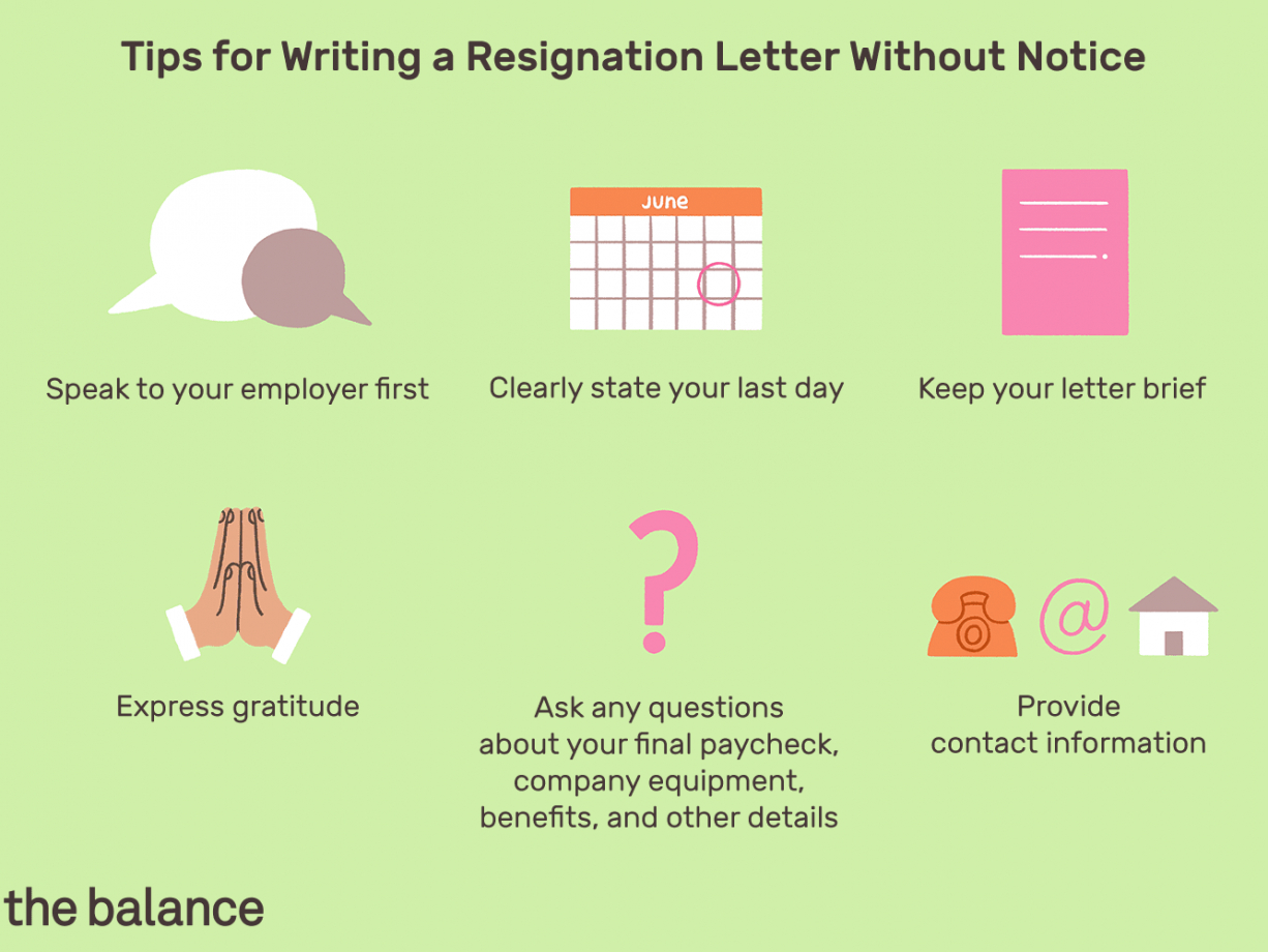 no notice resignation letter example and writing tips resignation letter without notice template example