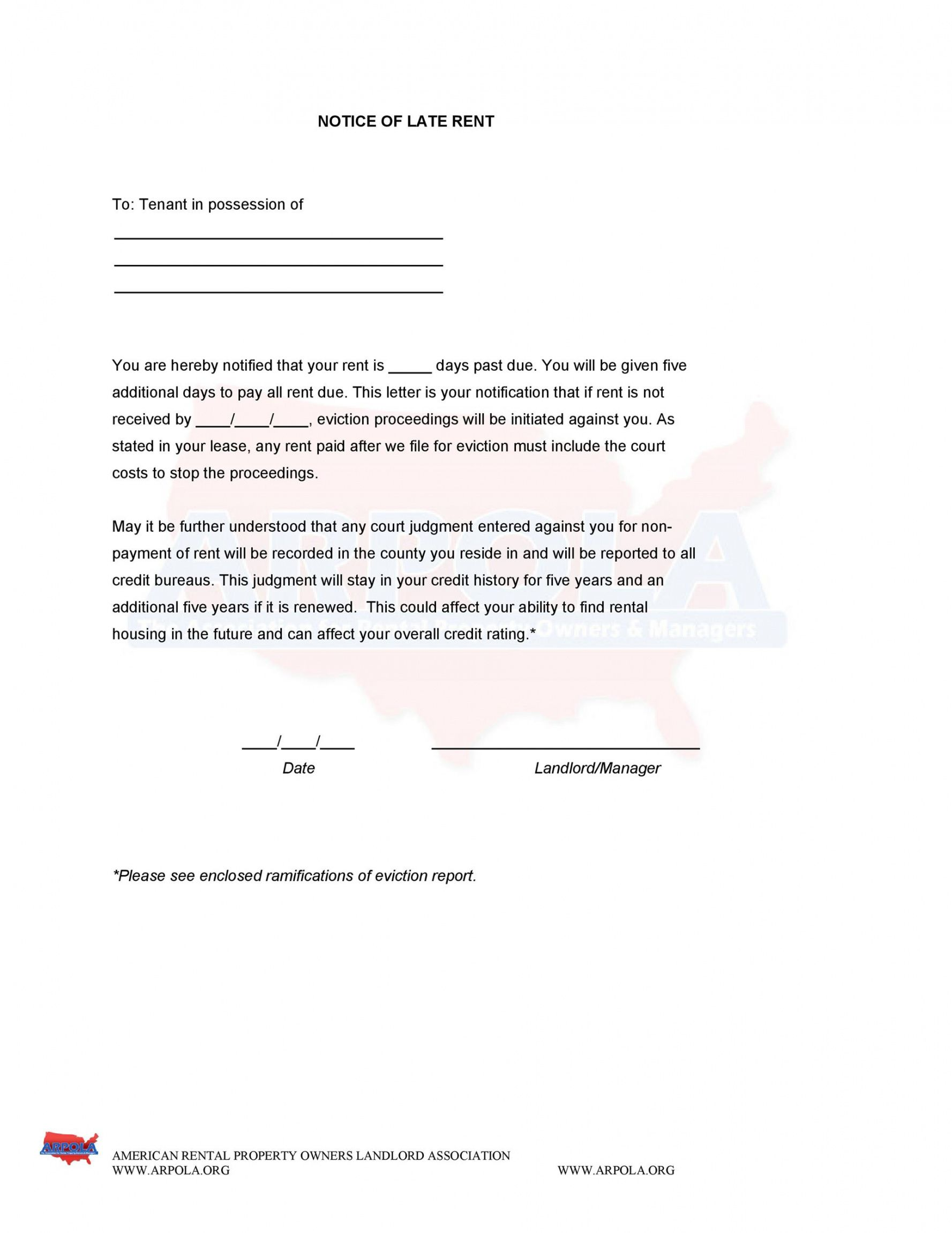 printable 34 printable late rent notice templates  templatelab notice of late rent payment template excel