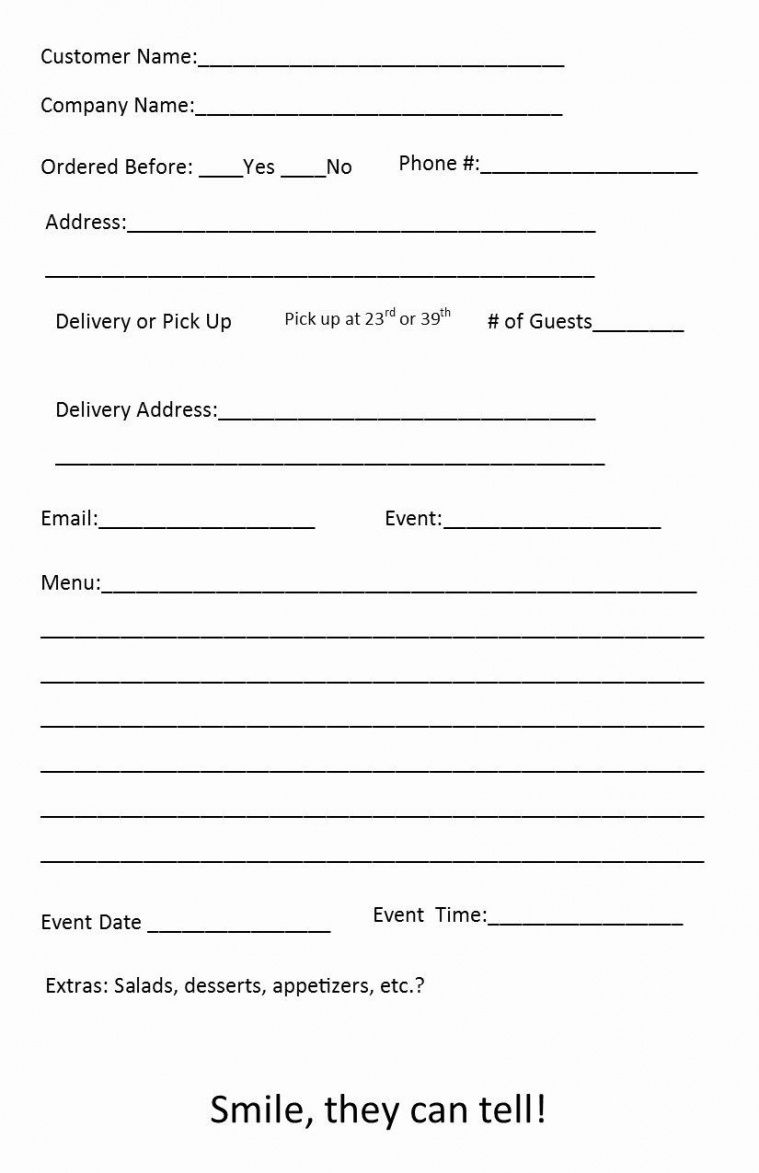 printable catering order form template ~ addictionary catering event order form template excel