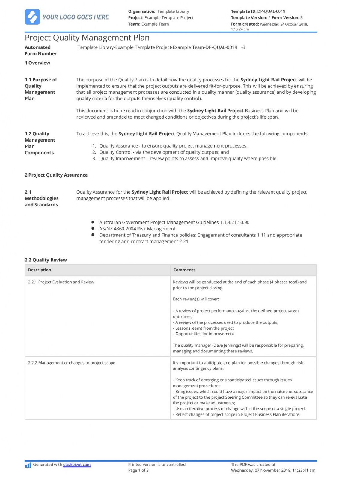 printable construction quality management plan free and customisable project management quality management plan template sample