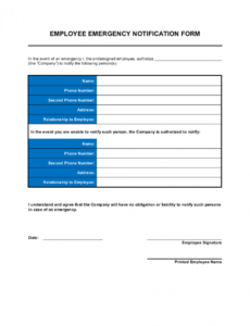 printable employee emergency notification form template business emergency notification plan template example