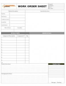 printable excel work order template ~ addictionary work order tracking template word