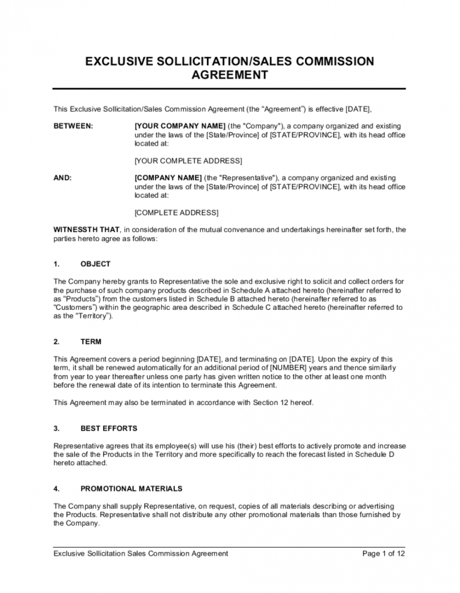 printable exclusive sollicitation sales commission agreement template sales rep commission template sample