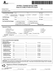 printable fillable online payroll change notice form signature of payroll schedule change notice template word