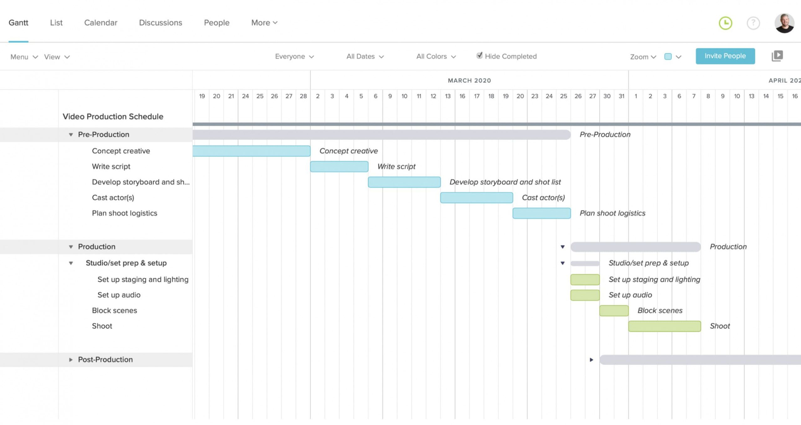 printable free video production schedule templates  teamgantt video production plan template example