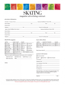 printable magazine advertising contract  fill online printable magazine order form template excel
