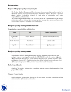 printable quality management plan exampleengineering project project management quality management plan template doc