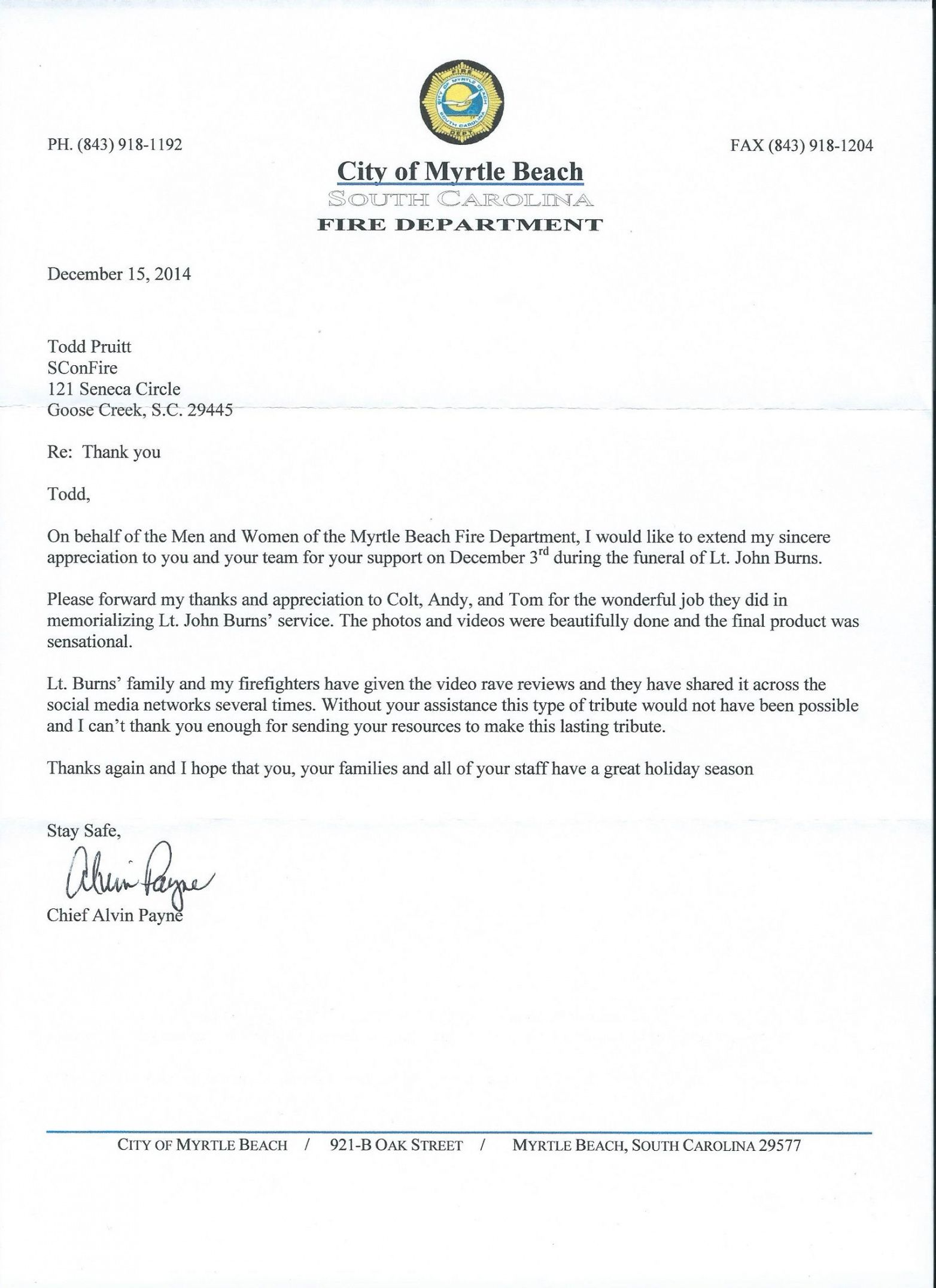 printable sconfire receives thank you letter from the myrtle beach fire department firefighter resignation letter sample