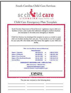 printable south carolina child care services child care emergency child care disaster plan template doc