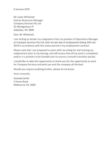 resignation letter templates how to resign in 2020 resignation letter for personal reason with one month notice excel