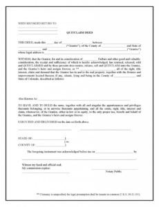sample colorado quit claim deed form  deed forms  deed forms quit claim for final pay template example