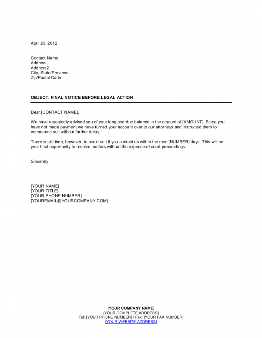 sample final notice before legal action template businessina final notice overdue payment template excel