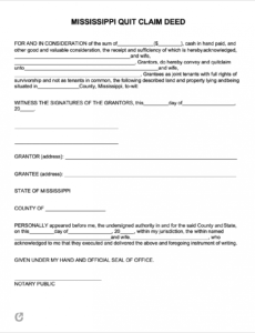 sample free mississippi quit claim deed form  pdf  word quit claim for final pay template doc