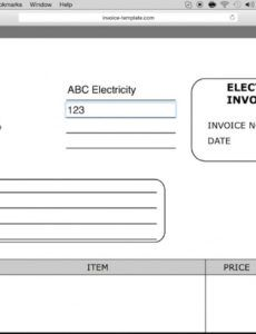 sample how to make electrician invoice  excel  word  pdf electrical work order template doc