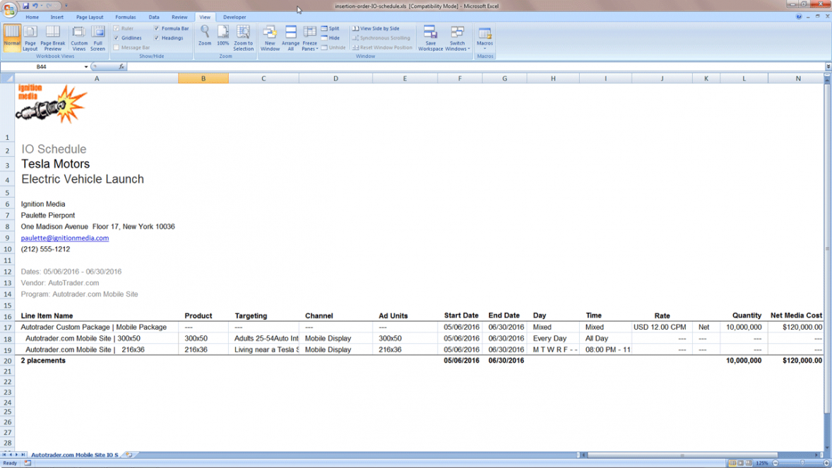 sample media planning reports  bionic advertising systems media insertion order template excel
