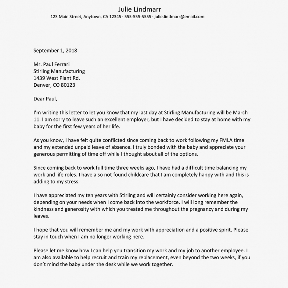 sample resignation letter when leaving to care for children resignation letter due to work life balance pdf