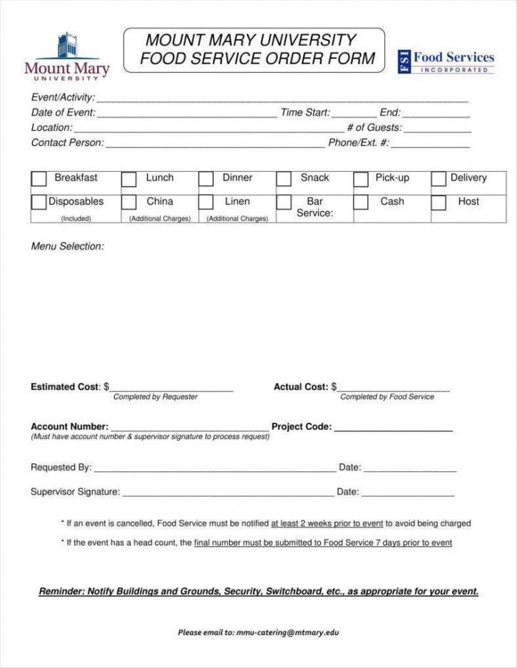 10 catering order form templates  ms word numbers pages catering order form template excel