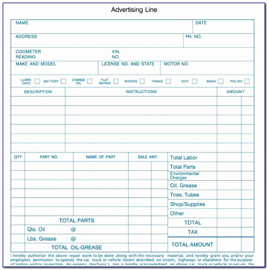 automotive repair form template  vincegray2014 auto body work order template