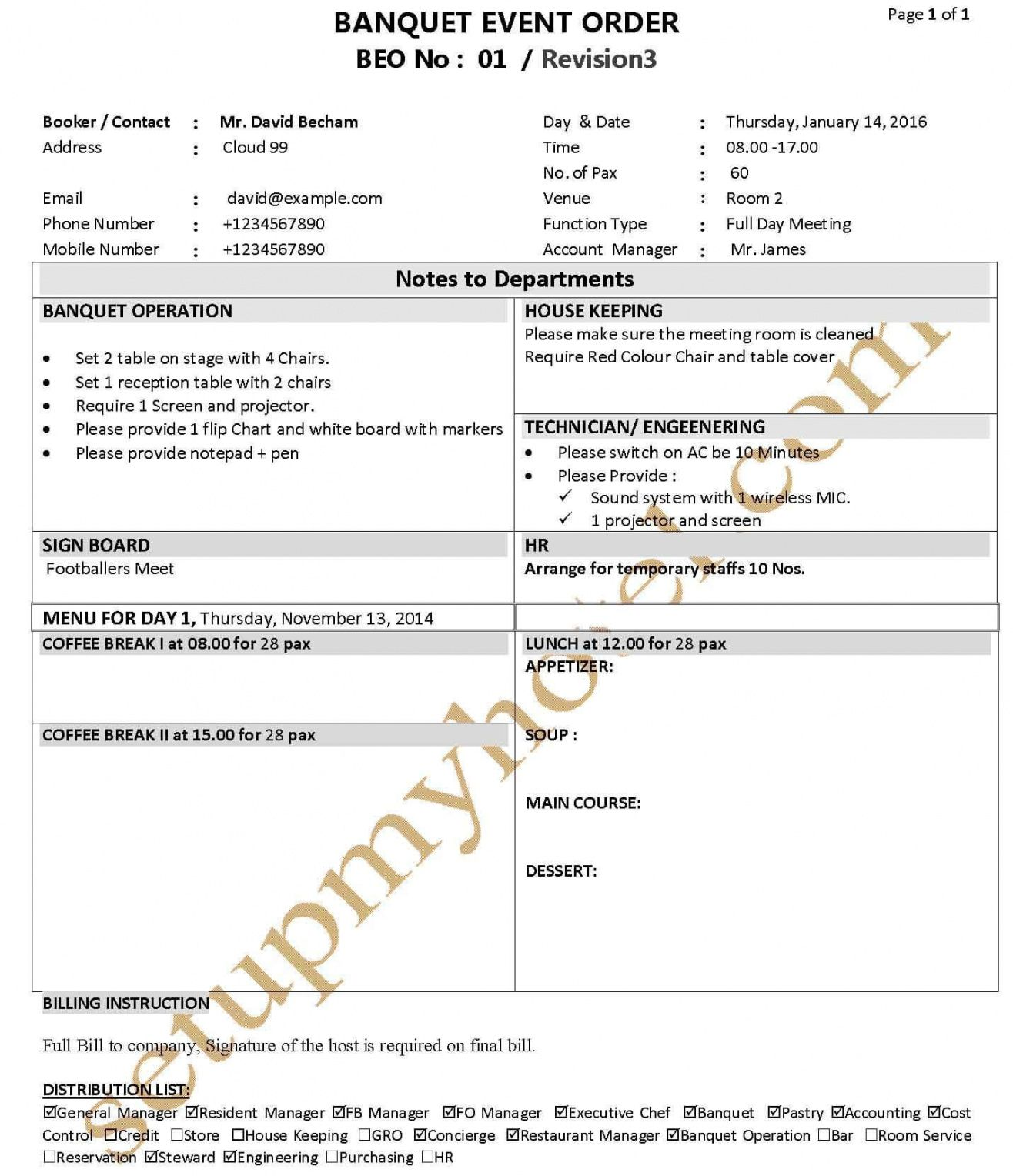 banquet function plan  event order form  fp  beo sample banquet event order template excel