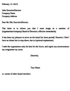 board resignation letter  uniqueb resignation letter from church board sample