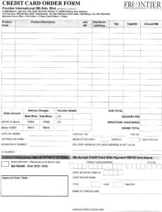 credit card order form  june chan's frontier network business card order form template example