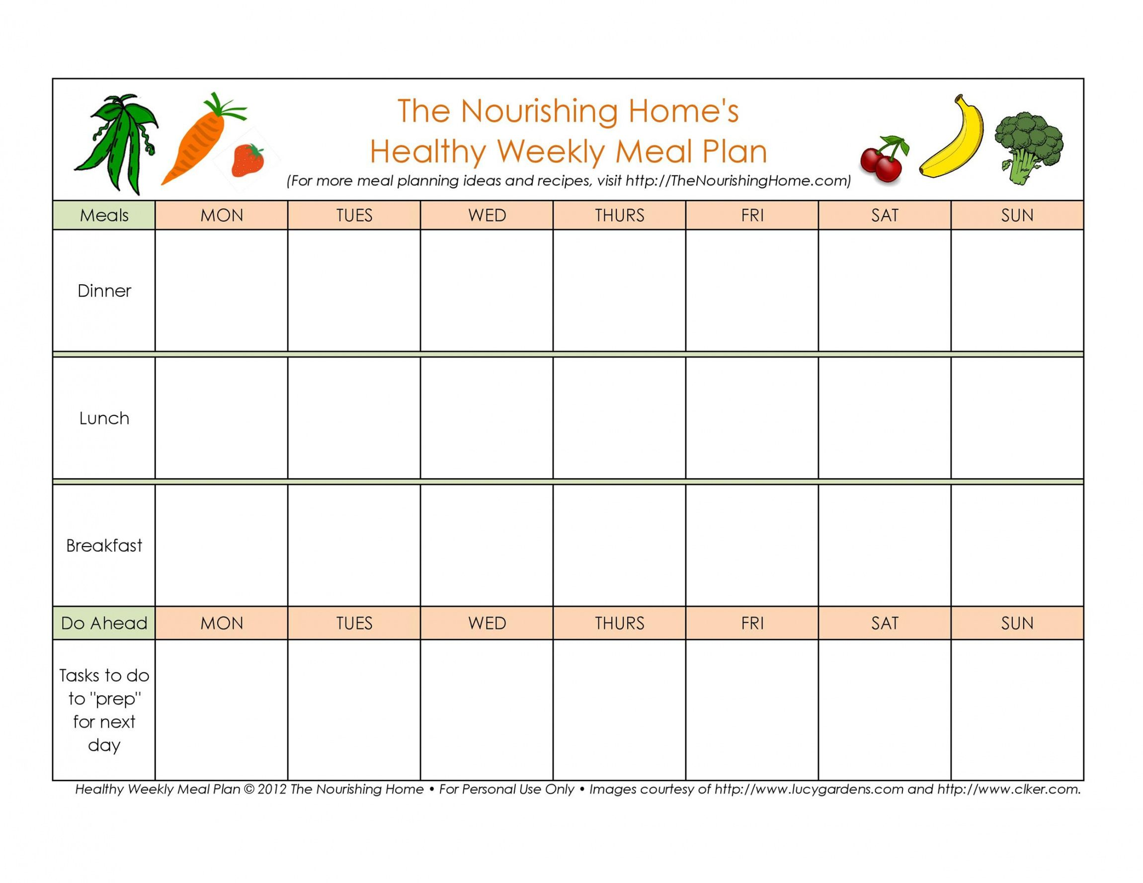 editable 40 weekly meal planning templates  templatelab weekly dinner schedule template excel
