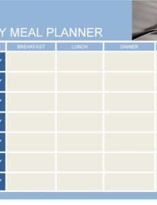 editable 40 weekly meal planning templates  templatelab weekly dinner schedule template sample