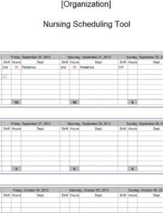 editable examples of nurse staffing schedules  nursing schedules nursing staff schedule template sample